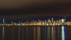 Nightlights (John Westrock) Tags: seattle longexposure cityscape reflection city skyline buildings morning spaceneedle washington pacificnorthwest canoneos5dmarkiii canonef2470mmf28lusm