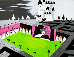 Queen of Hearts Castle concept art by Mary Blair for Alice in Wonderland (Tom Simpson) Tags: castle film illustration vintage cards alice disney animation aliceinwonderland queenofhearts conceptart maryblair