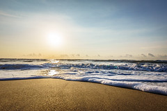 Good Morning Chennai (criatvt) Tags: ocean morning blue sea sun beach water clouds sunrise gold golden sand madras sunny clear goodmorning chennai aura ecr bayofbengal thiruvanmiyur eastcoastroad aurum tiruvanmiyur thiruvalluvarbeach