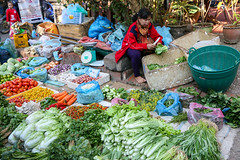 Fresh vegetables in the market, Luang Prabang, laos (inchiki tour) Tags: road street travel people foods photo alley asia southeastasia market bazaar laos passage luangprabang   louangphrabang