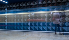 Momentariness - Everything is fading (*Capture the Moment*) Tags: blue people architecture subway munich leute dynamic innenarchitektur ubahn architektur blau interiordesign dynamik 2015 olympiashoppingcenter häuserwohnungen farbdominanz insightview