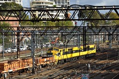 Back-to-back beneath the 'birdcage' (highplains68) Tags: railroad yard rail railway australia nsw newsouthwales ssr aus spoil wellsstreet sydneytrains worktrain southernshorthaulrailroad