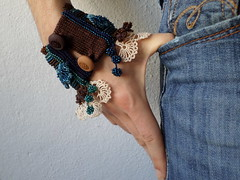 handmade beaded crochet bracelet with laces and beaded flowers in cream, brown, green and blue colors by irregularexpressions (irregular expressions) Tags: jewelry bracelet wearableart fiberart beaded textileart seedbeads beadcrochet freeformcrochet delicabeads bluebracelet crochetbracelet beadedcrochet beadedbracelet crochetart brownbracelet beadedcuff beadedlace irregularexpressions crochetcuff statementbracelet statementjewelry beadedcrochetcuff romanticbracelet statementcuff beadedcrochetbracelet freeformcrochetbracelet