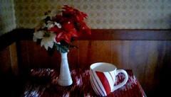 Kitchen Christmas decoration. (Maenette1) Tags: christmas decoration kitchen mug flowers menominee uppermichigan flicker365