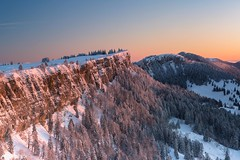 Sunrise - Grenchenberg (Captures.ch) Tags: 2017 black blue brown capture cliff cold dawn forest gray grenchenberg hills ice january landscape morning nature orange perfect red schweiz sky snow solothurn sunrise swiss switzerland trees white winter ngc