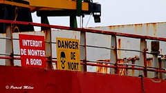 Danger of death !!! (patrick_milan) Tags: red rouge sign boat ship decay danger mort interdit rouille rusty