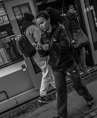 Tramspotting (Henka69) Tags: street streetphoto tram candid gothenburg göteborg monochrome