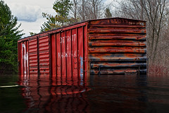 After the Flood 2 (hz536n/George Thomas) Tags: 2016 cs5 canon canon5d ef100mmf28lmacroisusm ioscocounty may michigan spaceshipearth copyright railroad rust rusting rusty flood water composite