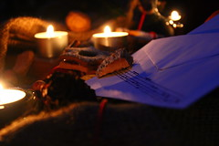 Merry Christmas (Nathalie_Désirée) Tags: merrychristmas darkness candle cookie letter notes music mix macro handwriting handmade night evening atmosphere