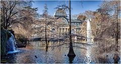 Palacio de Cristal... (Leo ☮) Tags: palaciodecristal parque elretiro agua patos árboles arquitectura fuente luz color invierno madrid