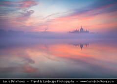 Hungary - Budapest - Hungarian Parliament Building - Iconic landmark reflected at Danube River during misty sunrise (© Lucie Debelkova / www.luciedebelkova.com) Tags: hungarian parliament hungarianparliament budapest magyarország hungary danube dunaj river europe evropa eu twilight dusk world exploration trip vacation holiday place destination location journey tour touring tourism tourist travel traveling visit visiting sight sightseeing wonderful fantastic awesome stunning beautiful breathtaking incredible lovely nice best perfect water waterscape wasser agua shoreline shore beach praia plage spiaggia strand wwwluciedebelkovacom luciedebelkova luciedebelkovaphotography