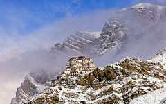 The Key Monastery in Winter (ZeePack) Tags: mist sky landscape mountains winter blue clouds building snow high holy prayer religious rugged gompa keymonastery canon india himachalpradesh buddhist spiti kibber ki kye 5dmarkiv milestoneenterprisein milestoneenterprise mountain