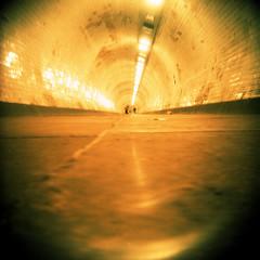 Greenwich Foot Tunnel (pho-Tony) Tags: italy milan color colour 120 film mediumformat iso100 lomo xpro lomography italian mod fuji cross crossprocess milano greenwich shift velvia cast roll format 24 100 hack process e6 glitch koroll bencini korroll bencinikoroll24 dium