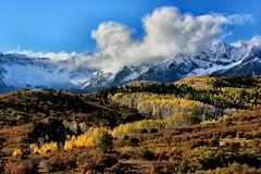 SAN JUAN AUTUMN (Aspenbreeze) Tags: autumn snow mountains fall fog clouds colorado sanjuanmountains aspentrees mountainpeaks snowypeaks aspenbreeze moonandbackphotography bevzuerlein