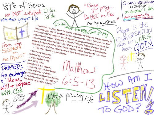 Sermon #sketchnote on Matthew 6:5-13 by by Wesley Fryer, on Flickr