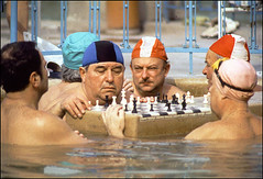 Men play chess in a spa in Budapest, Hungary