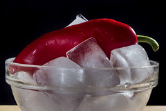 Cold and hot (kyrsos1) Tags: red food black hot glass blackbackground chili indoor bowl icecubes peppers transparent redhotchilipepper ilobsterit