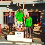 Nakiska Women's DH overall podium Dec 2015 (left to right: Michelle Rufener 2nd, Katie Fleckenstein 1st, Gabrielle Smith 3rd)