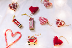 71/100 - New Ornaments (AndreaDrops) Tags: 100happydays beautifullight bokeh canon60d 50mm14 christmas christmaslight christmasornaments christmasdecoration red fabrichearts redtelephone doubledeckbus accessorize camicado candycanes heart postbox redpostbox