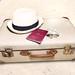 Reisepass und Urlaub mit Hut, Koffer und Geld in Frontaufnahme auf Sand