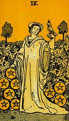 Nine of Pentacles (~ Lone Wadi ~) Tags: tarot tarotcard nineofpentacles pentacles occult blackmagic sorcery fortunetelling retro 1910s