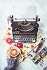 ok? (www.juliadavilalampe.com) Tags: stilllife coffee art marble typewriter brushes vienna austria österreich wien flowers colors white ranunculus hand lifestyle me indoors underwood