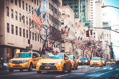 New York Morning (Pixelglo Photography) Tags: newyorkcity newyork taxis yellowcab usa starsandstripes flag cars outdoors manhattan road commuters commute city travel morning