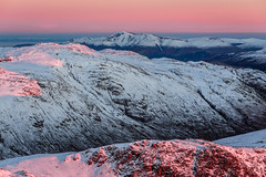 Hues of Dawn (tristantinn) Tags: dawn sunrise skiddaw keswick lakes lakedistrict cumbria england snow winter mountains first light bowfell fell fells uk nature landscape