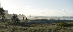 heading to the beach (bobarcpics) Tags: australianbeaches seasidelandscape dunelandscape greenmount people mist queensland