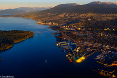 Lions Gate Bridge-Burrard Inlet (david byng) Tags: helijet vancouver 2017 sunrise winter pacificocean city canada britishcolumbia bridge