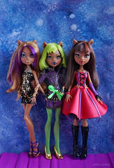 my favorite Clawdeens (Alice_Milich) Tags: monster high clawdeen wol dawn dawnofthedance 13 wishes dead tired 20 deadtired20 scarily ever after little riding haunt casbah mh