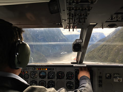 Flying over Milford Sound, NZ (stephenk1977) Tags: newzealand nz milford sound flights flight scenic view aerial cruiseship fjord fiordland ovationoftheseas plane aeroplane ga8 airvan iphone6 gippsaero waterfall