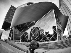 Art Gallery of Alberta (2/2) (George Stastny. Photographer.) Tags: street streetphotography streets fisheye architecture edmonton alberta canada blur motionblur monochrome blackandwhite bnw aga artgalleryofalberta olympus getolympus