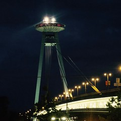 UFO Tower, Bratislava, July 2014 (mattweedon) Tags: waroftheworlds night bridge newbridge mostsnp novymost slovakia bratislava ufotower ufo