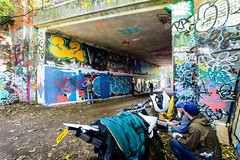 Graffiti Artists at Work (georgeplakides) Tags: parklandwalk hornsey bridge graffiti artists paint painting mororcycle bike bikers colours