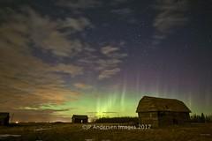 Keoma Barn and House 2017 (John Andersen (JPAndersen images)) Tags: abandoned alberta aurora barn borderfx clouds farm jpandersenimages keoma meteor night sky