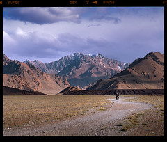 Freedom Within (tsiklonaut) Tags: pentax 67 6x7 67ii film analog analogue analogica analoog 220 roll medium format fuji fujifilm velvia 50 rvp50 hunt chrome 6x e6 slide dia positive slaid color vivid pamir pamiiri pamiirid mäed mountains tajikistan asia aasia motorcycle travel discover experience suzuki drz 400 gravel trail road snowy peaks lumised mägine maastik landscape mountanous tadžikistan central remote location tee teekond rada moto bike motor drum scan drumscan scanner pmt photomultipliertube valley gbao gorno badakhshan murghab unpaved