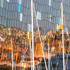 Nailing the colours to the mast (Arni J.M.) Tags: windows reflection building glass architecture boats iceland colours harbour reykjavik mast masts concerthall harpa irregularhexagons nailingthecolourstothemast