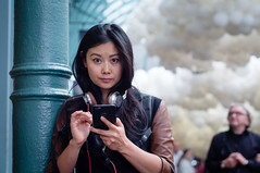 busted! (jonron239) Tags: woman london girl clouds balloons smartphone coventgarden clocked charlesptillon