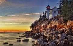 Bass Harbor Light [Explore] (NYRBlue94) Tags: new light sunset england sky lighthouse color clouds harbor bass serene