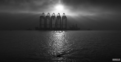 The Mersey Navel (Mark Holt Photography - 4 Million Views (Thanks)) Tags: blackandwhite bw fog liverpool liverpooldocks sinkholes seamist whirlpools seaforthdocks zhenhua23 liverpool2 peelports