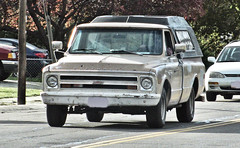 '68 Chevy C10 (Eyellgeteven) Tags: old classic chevrolet vintage rust gm rusty used chevy rusted vehicle primer 1960s 1968 gmc survivor jalopy beatup junker beater madeinusa americanmade 2wd fullsize chev generalmotors campershell worktruck c10 generalmotorscorporation primergray eyellgeteven