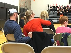 The great American ritual of the school holiday band concert (Ronald (Ron) Douglas Frazier) Tags: family school holiday mom parents illinois concert midwest dad daughter indoor gymnasium soninlaw bandconcert