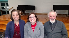 Marty Hunter (Interfaith Power and Light), Laura Burns (Moms Clean Air Force) and Father Bernard Survil
