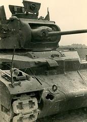 "Wrecked British tank ""Matilda II""."
