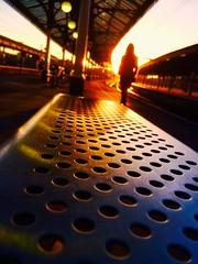 More Than a Feeling (sjpowermac) Tags: feeling sunset walk leaving bokeh silhouette isometric seat golden railway station diffraction platform lonely glint glow december figure uczucie tajemniczy burnished dworzec