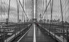Brooklyn Bridge (rudie_y) Tags: brooklynbridge manhattan nyc newyorkcity bw red selectivecolour lines symmetry