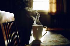 Morning Tea (NoelleBuske) Tags: tea steam cup table swirls simple morning window detail hot hottea lifestyle nikon noellebuske noellebuskephotography simplicity mug indoor light windowlight chair