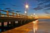 Blue hour in Forte dei Marmi (Darea62) Tags: sunset bluehour seascape pier bridge fortedeimarmi versilia streetlights longexposure sky water clouds beach travel pontile
