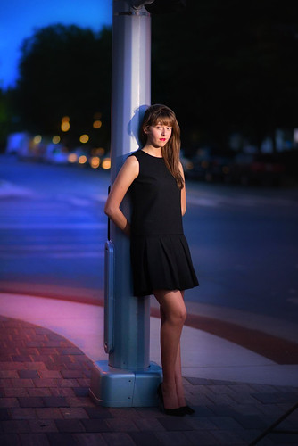 Dynamic Downtown Night Portrait for High School Seniors by Gfellerstudio
